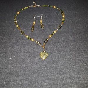 Olive Green beaded necklace w/Jade Heart & earring